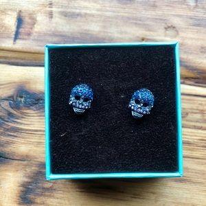 Betsey Johnson sparkle skull earrings